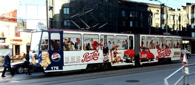 Pepsi – üleni kleebitud tramm