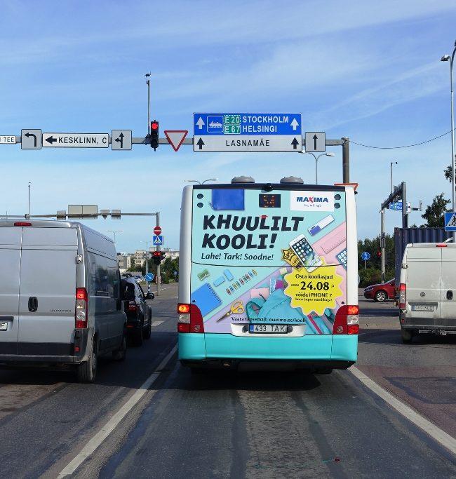 Maxima – bussireklaam, kleebis tagaküljel