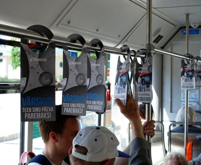 Rexona –  transpordireklaam, rippuvad reklaamid ühistranspordis