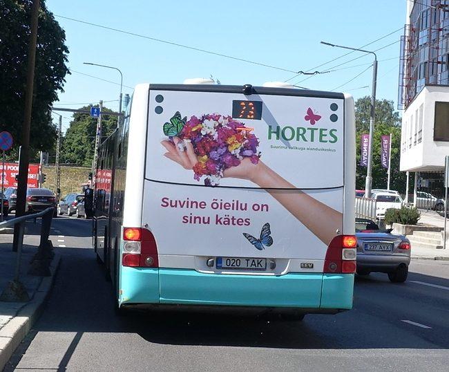 Hortes – reklaam bussi tagaküljel