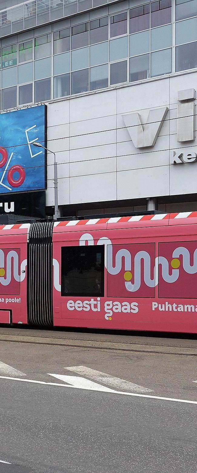 Eesti Gaas – trammireklaam, tramm üleni reklaamkujunduses