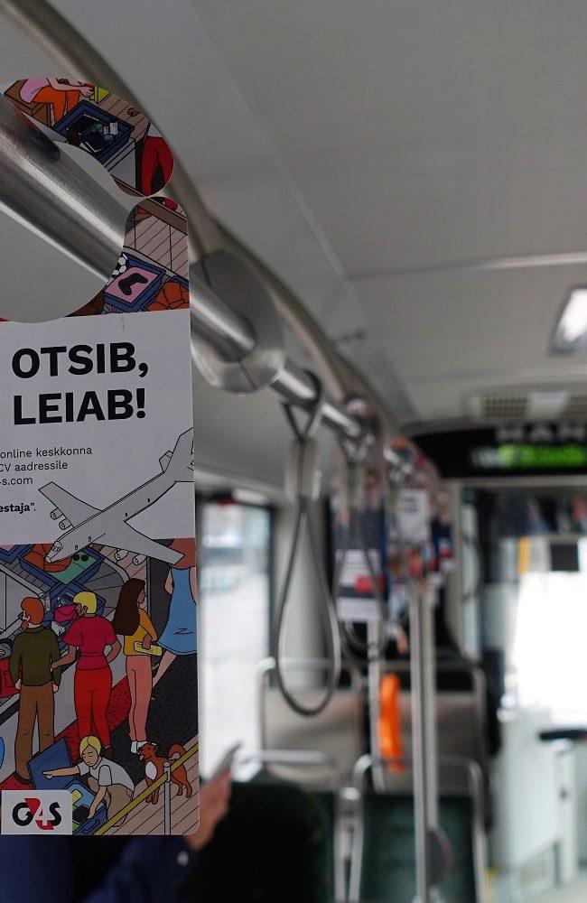 G4S – rippuvad reklaamid ümber torude, bussireklaam